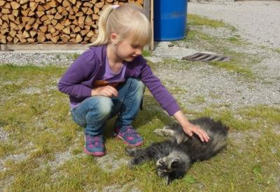 Christlrumerhof Unsere Tiere Kind Katze