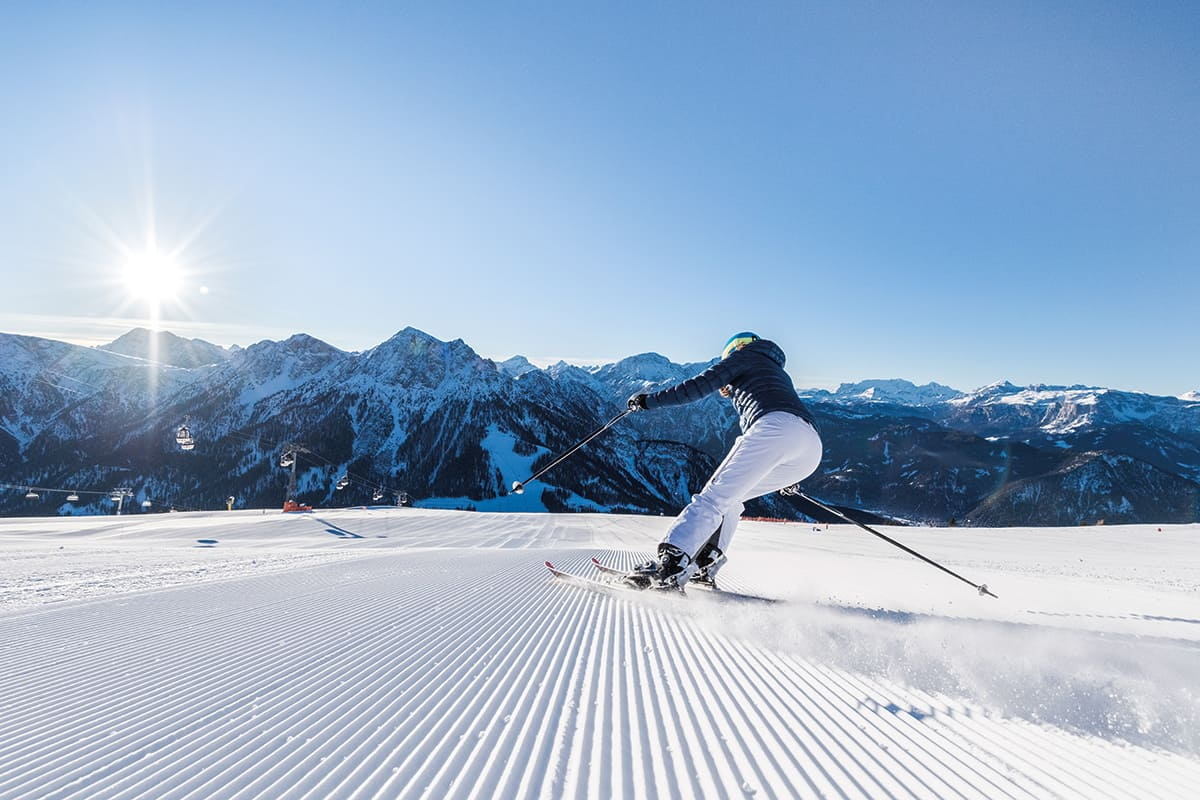 Skiing at the Plan de Corones in the Pustertal valley, Southtyrol