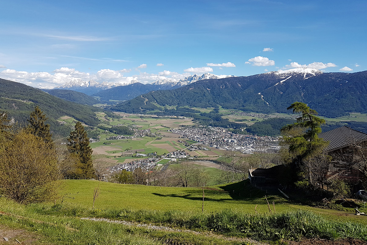 Running in the Pustertal valley in Southtyrol by a breathtaking landscape